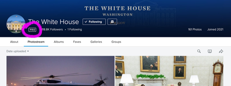 Screenshot of White House Flickr account with PRO status