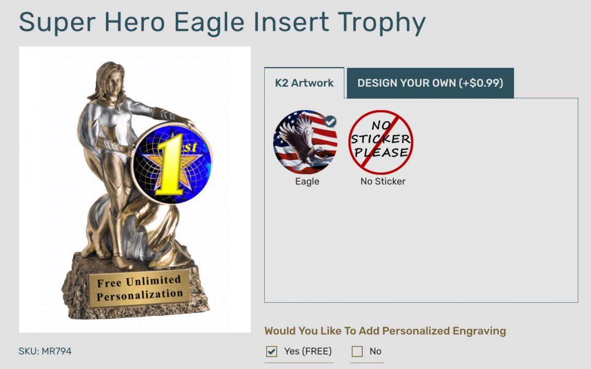 Screenshot of Superhero Eagle Insert Trophy