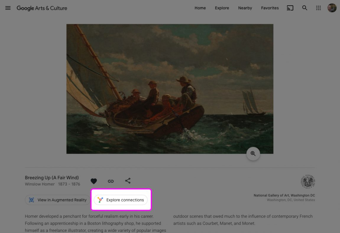"Screenshot of Winslow Homer's ""Breezing Up"" with ""Explore Connections"" highlighted"