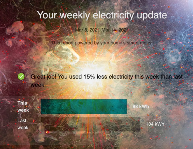 Screenshot of weekly electricity report from ComEd, with fireworks behind