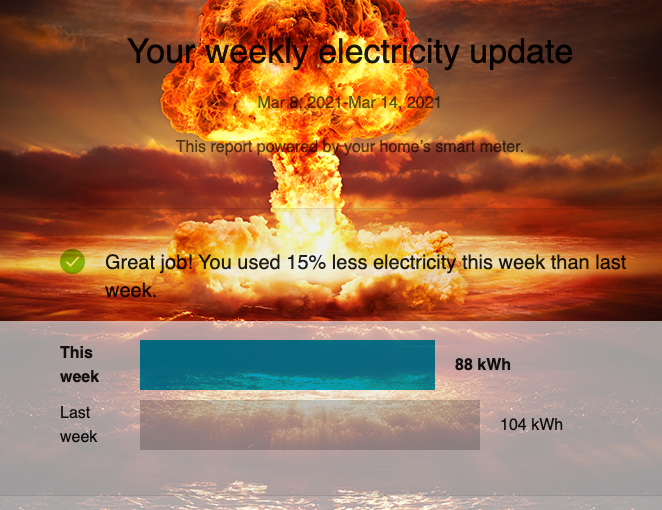 Screenshot of weekly electricity report from ComEd, with a nuclear explosion photoshopped behind