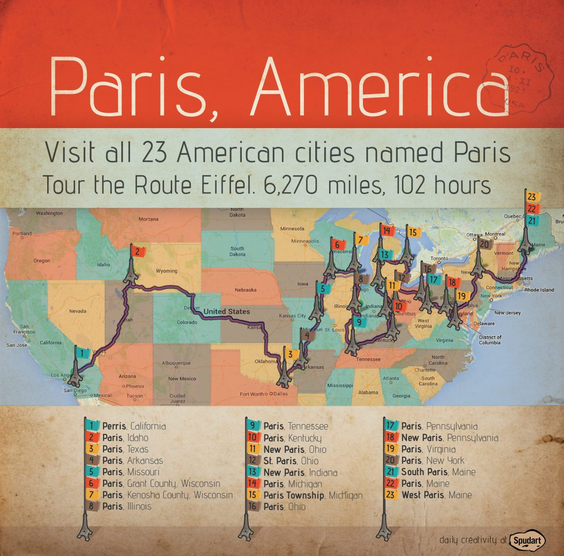 Paris, America: Visit all 23 American cities with the name Paris