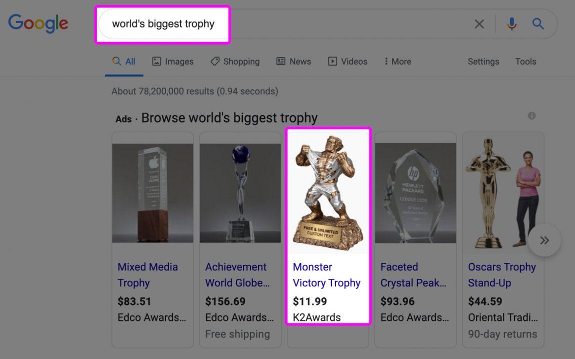 Screenshot of Google results for: world's biggest trophy