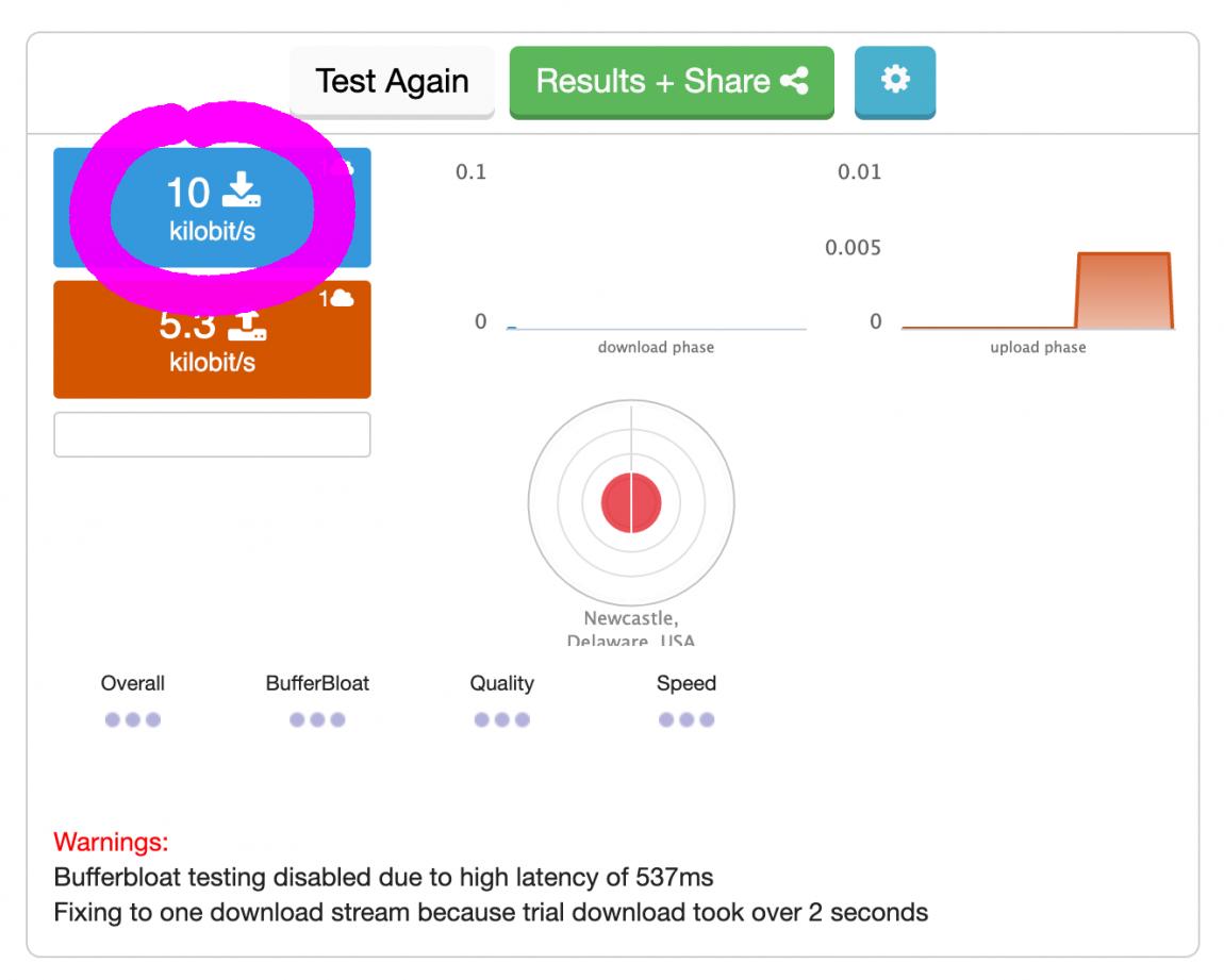 Screenshot of speedtest showing 10 kilobit/s