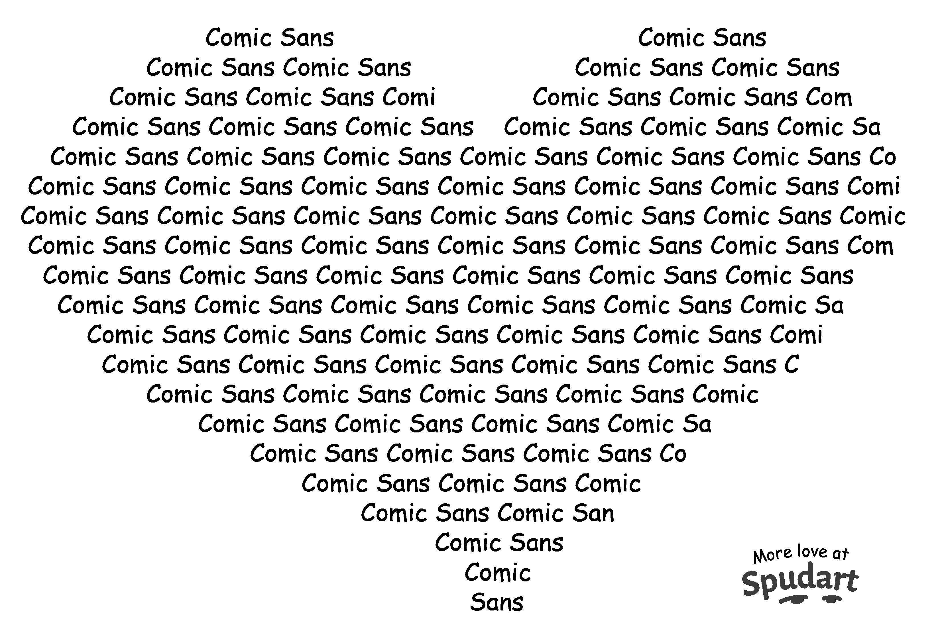 ASCII art heart with Comic Sans font