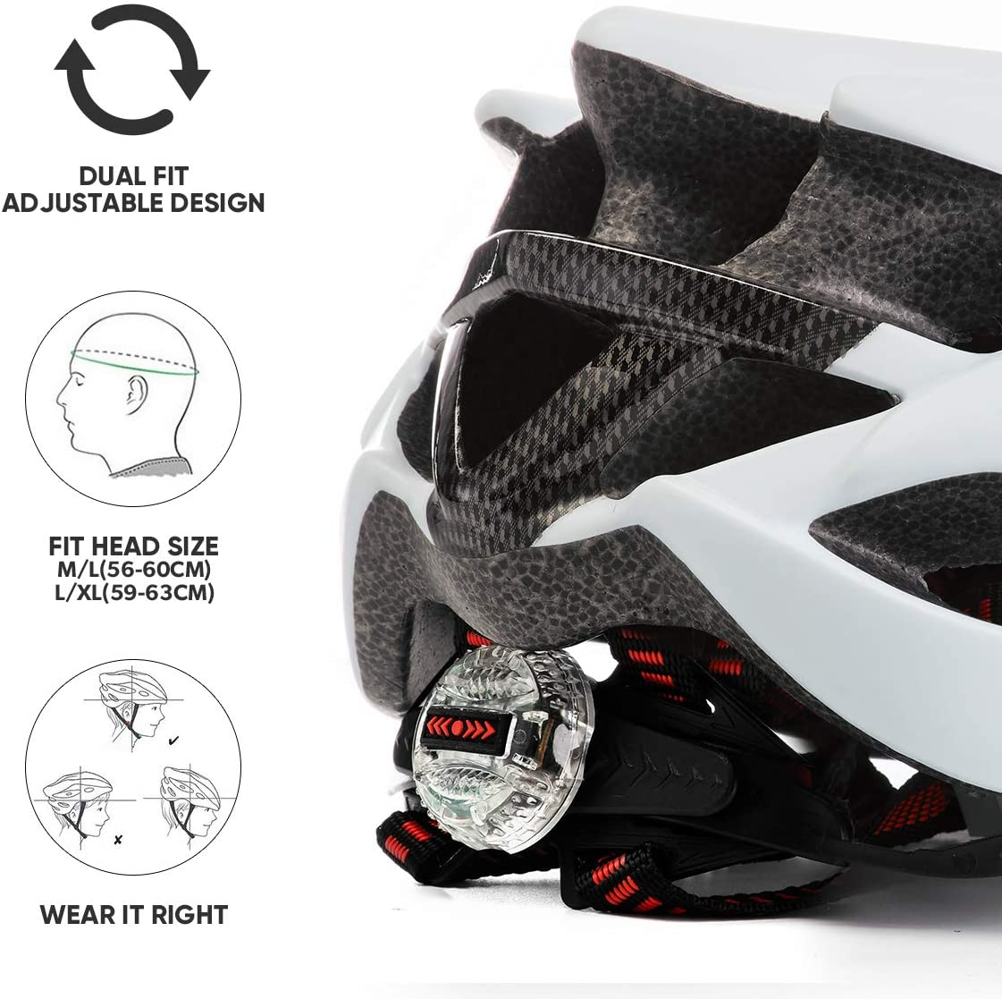 Features of the bike helmet: dual fit adjustable design, fits up to 63cm.