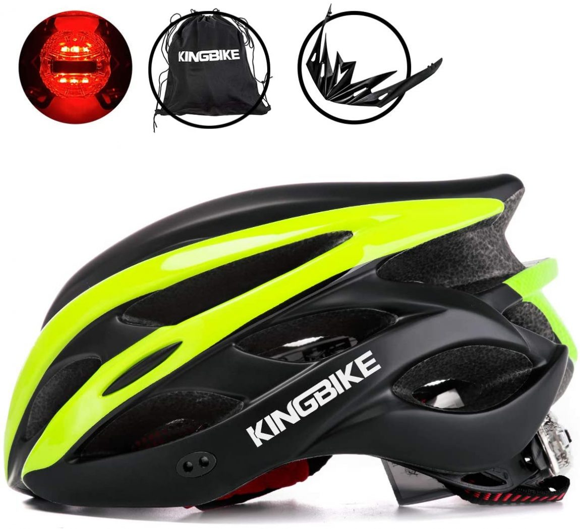 Side view of yellow bicycle helmet