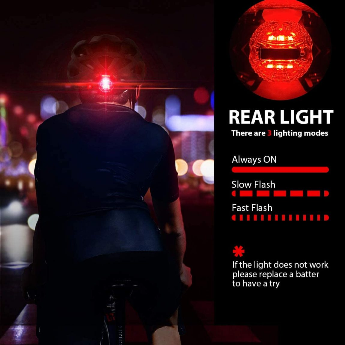 3 lighting modes on rear light: Always on, slow flash, fast flash.