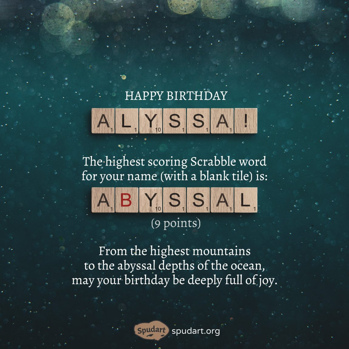 Birthday greeting with Scrabble tiles
