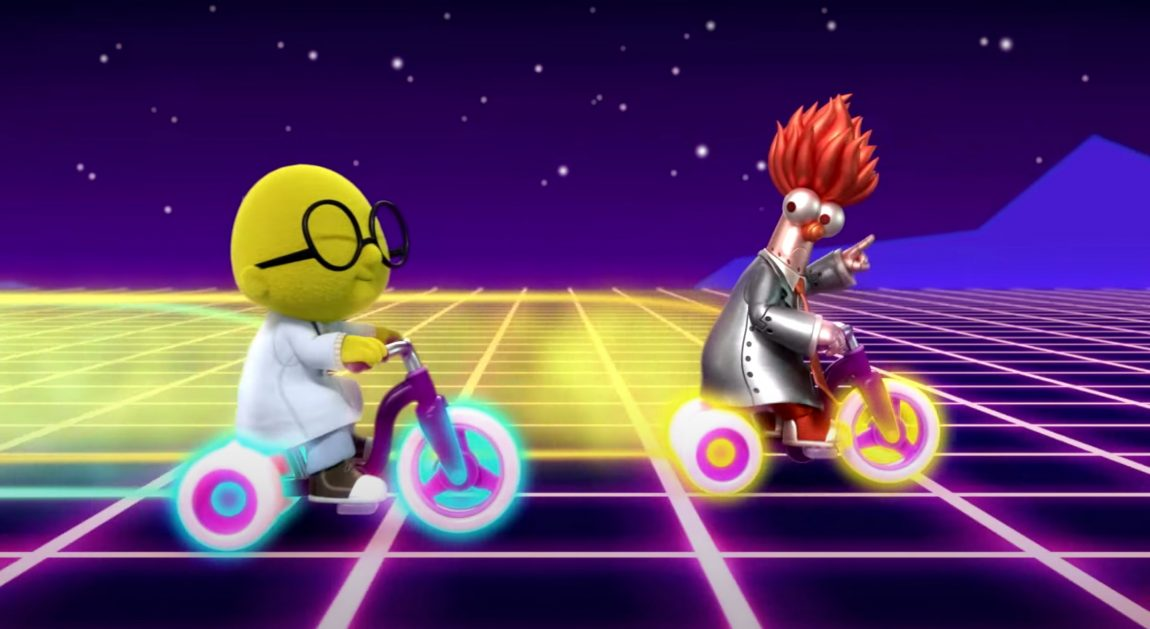 """Dr Bunsen Honeydew and """"Beaker 2.0"""" riding Tron-like tricycles"""