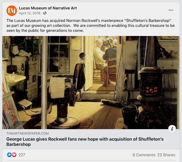 """The Lucas Museum has acquired Norman Rockwell's masterpiece """"Shuffleton's Barbershop"""" as part of our growing art collection.  We are committed to enabling this cultural treasure to be seen by the public for generations to come."""
