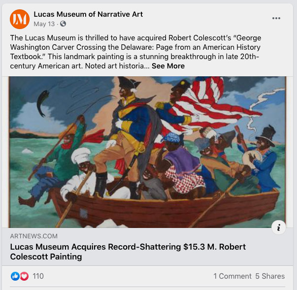 """The Lucas Museum is thrilled to have acquired Robert Colescott's """"George Washington Carver Crossing the Delaware: Page from an American History Textbook."""" This landmark painting is a stunning breakthrough in late 20th-century American art."""