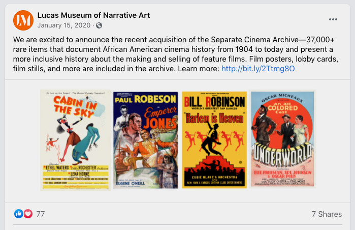 We are excited to announce the recent acquisition of the Separate Cinema Archive—37,000+ rare items that document African American cinema history from 1904 to today and present a more inclusive history about the making and selling of feature films. Film posters, lobby cards, film stills, and more are included in the archive.